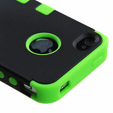for iPhone 4 4G 4S - Green & Black Armor High Impact Hard&Soft Rubber Case Cover