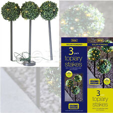 3 SOLAR POWERED TOPIARY BALL GARDEN LIGHTS STAKES DUAL FUNCTION LED Lawn Decor