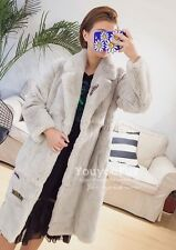 GENUINE REAL Oryctolagus cuniculus seto Rabbit Fur 3 Colours Knee Length Coat