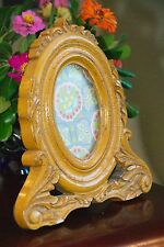 "PHOTO FRAME FAUX HAND CARVED "" WOOD ""  RESIN WOOD COMP YELLOW 9"" H X 8.5""  OVAL"