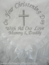 Personalised Christening Shawl - Luxury deep lace trim