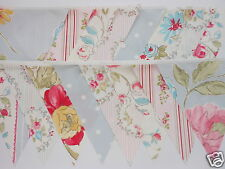 DOVE GREY / PINK / IVORY VINTAGE STYLE FABRIC WEDDING BUNTING 8M, 26FT NEW