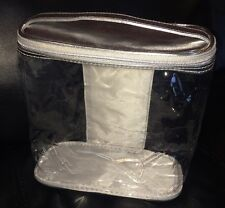 CLINIQUE Silver Transparent Clear Cosmetic Travel Case Bag NEW 7.5 x 7 x 3.5