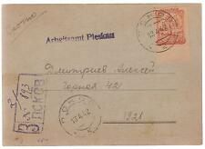 1942 Pleskau Russia USSR Employment Exchange Postcard cover Local Issue Stamp
