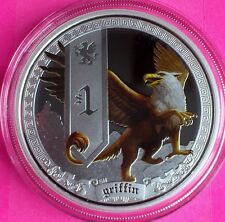 2013 TUVALU SILVER  MYTHICAL CREATURES - GRIFFIN $1 DOLLAR  PROOF COIN BOX + COA