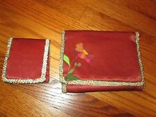 Vintage Silk Satin Sewing Kit Pouch with matching Pin Wallet