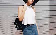 ZARA WHITE HIGH NECK  CROP TOP BLOUSE SIZE M UK 10