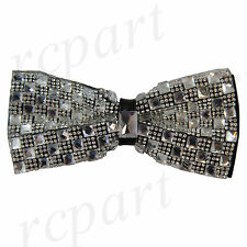 New in box Brand Q Men's Crystals Pre-tied Bow Tie White Checker Prom Formal