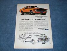 "1970 Mustang Mach 1 SportsRoof Vintage Ad ""Mach 1-Pronounced Mach Won!"" Fastback"