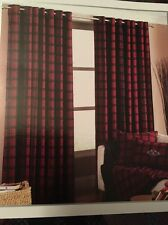Paoletti Eyelet Curtains Wool Blend Cabin Lodge  66 x 72