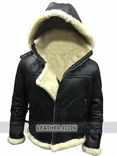 Men's Stylish B3 Bomber Full Real Fur Removable Hood Genuine Cow Leather Jacket