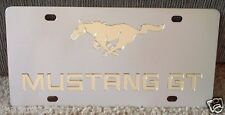 Ford Mustang GT stainless steel vanity license plate tag horse gold