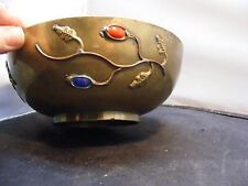 antique  CHINESE jeweled BRASS BOWL signed  chinese bowl chinese