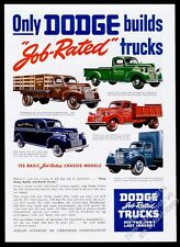 1946 Dodge pickup panel truck semi dump stake bed vintage print ad
