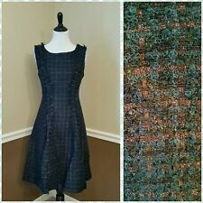 NWT Modcloth $320 Eva Franco Tweed Dress Sz 8 Green Metallic Bronze Plaid Retro