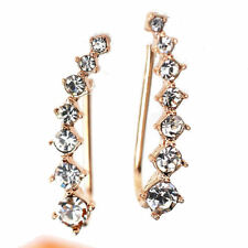 Ear Climbers 18k Rose Gold Plated CZ Crawler Earrings 24mm - 1 inch