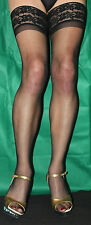 3 Pairs Black 15 Denier Luxury Lace Top Hold Up Satin Sheen Stockings One Size