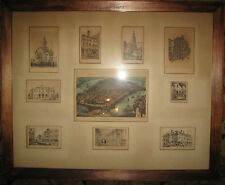 Antique Views Of New York W Currier & Ives Map & Village Images (William, Fulton