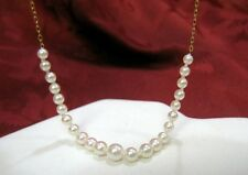 BEAUTIFUL 14K YELLOW GOLD NECKLACE WITH SALTWATER PEARL CHAIN 19.5 INCHES