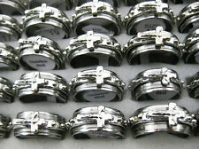 FREE Wholesale Jewelry Lots 10pcs Cross Christian Men's Stainless Steel Rings