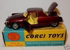 RARE CORGI TOYS CITROEN DS 19 COUPE LE DANDY 1966 ROUGE METAL 1/43 REF 259 BOX