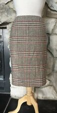 NWT Talbots Wool Blend Beige White Black Red Plaid Knee Length Lined Skirt Sz 6