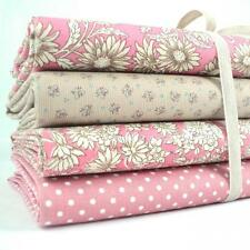 4 X FQ BUNDLE - ANTIQUE DAISY - PINK - 100% FLORAL COTTON FABRIC retro patchwork