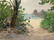 John Stobart Print - Naples Pier: Pathway to the Beach