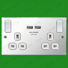 2 Gang Brushed Steel, White, 2.1A USB Ports Switched 13A Double UK Mains Sockets