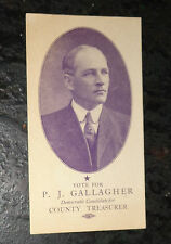 Victorian trade card advertising P.J. Gallagher treasurer campaign