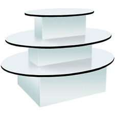 3-Tier Oval Merchandiser Display Table Retail Clothing Stand White Knockdown NEW
