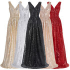 New Formal Long Sequins Dress Prom Evening Party Pageant Bridesmaid Wedding Gown