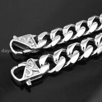 """Heavy 7-11"""" 13/15mm Fashion Cool Mens Curb Cuban Chain Stainless Steel Bracelet"""