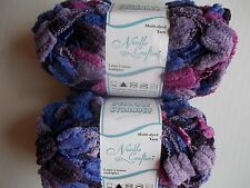 Needle Crafters Pillow Stranded baby yarn, purple/lavender/plum, lot of 2