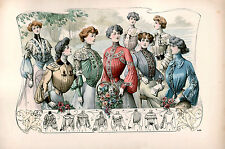 7 NEW Victorian Edwardian Ladies Dress Design Fashion Colour Prints 7 Pictures