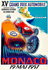 Grand Prix Monaco19 Mai 1957 Motos Automobile Car Race Deco Auto Poster Print