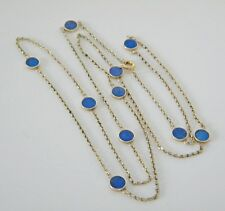 By The Yard 14K Yellow Gold Lapis Lazuli 10 Station Necklace Chain Opera Siz 30""
