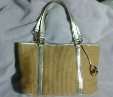 Michael Kors Tote shoulder bag with MK Charm medallion beige & gold GUC