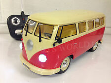 GERMAN VW CAMPER VAN RADIO REMOTE CONTROL CAR LED HEADLIGHTS 1/16
