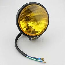 "5"" Yellow Bulb Motorcycle Headlight Running Lamp 4 Harley Chopper Touring Honda"