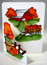 BARN FARM  SET MAKES TRY FOLD CARD 4 PC L@@k@photo ART IMPRESSIONS RUBBER STAMPS