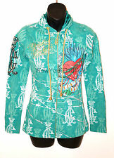 CHRISTIAN AUDIGIER Ed Hardy HOODIE Sequin Bling Green Gold Heart Zip Up Jacket