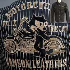 Vanson Leathers Felix The Cat Black Motorcycle Jacket Embroidered & Patches Sz S