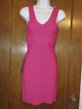 BEBE hot pink stretch v-neck bandage dress sexy size Small S body con NEW NWT