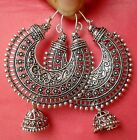 Ethnic Silver Oxidized South Indian Earrings Chand Bali Jhumka Jhumki Jewelry