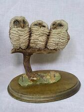 Country Artists Owls figurine Three baby owls on branch