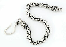 Vtg Sterling Silver Heavy Weight Byzantine Hook Clasp Chain Bracelet