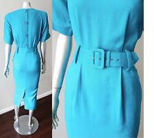 Button Back Vintage 80s does 50s Sheath Belted Teal Blue Midi Career Dress Sz M