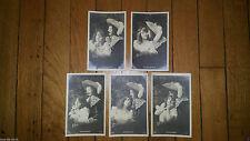 5 Cpa Cartes postales anciennes 1900 Propos galants, SIP,signées H. Manuel Paris
