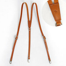 Mens Genuine leather Suspenders Y-Back Retro Braces Clip-On Brown Tan Small Size